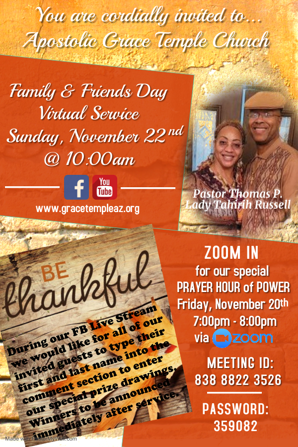 AGTC 2020 Prayer Hour of Power and Family & Friends Day